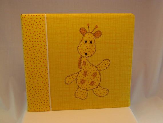 12x12 Postbound Fabric Scrapbook Photo Album Memory Book Baby Girl Boy Shower Giraffe Yellow Birth Nursery Applique Album Outfitters
