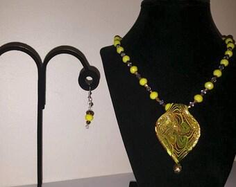 Large Yellow Glass Pendant Necklace - Yellow Jewelry - Yellow Jewelry Set - Pendant Necklace - Matching Earrings - Women's Yellow Jewelry