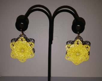 Yellow Flower Earrings - Flower Earrings - Yellow Earrings - Floral Earrings - Spring Earrings - Summer Earrings - Women's Flower Earrings
