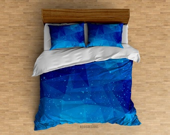 Blue Galaxy Low Poly Space Duvet Cover - Twin, Queen, King sizes available - Galaxies, Space, Stylish Duvet Cover, Bedroom for Her