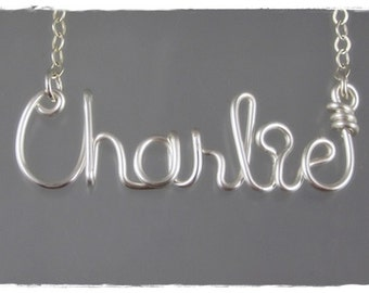 Charlie Wire Word Name Pendant Necklace