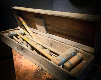 Antique Croquet Set with Original Wooden Box