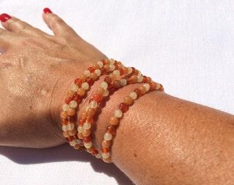Yellow Jade, Carnelian and Averturine clasp bracelet
