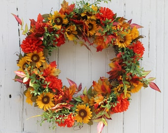 Sunflower Wreath, Fall Wreath, Autumn Wreath, Front Door Wreath, Harvest Wreath, Fall Door Wreath, Rustic Wreath, Wreaths, Elizabeth and Co
