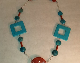 Turquoise Square with Asian Character Focal Bead Statement Necklace