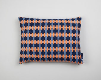 Geometric Woven Lambswool Cushion - Puzzle design in Orange, Pale Blue & Navy (Harbour)