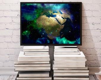 Astronautics poster Galaxy decor Planet print