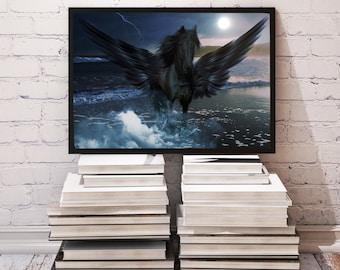 Pegasus poster Wings decor Fantasy print