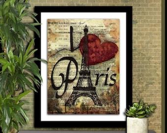 Paris Eiffel Tower watercolor digital print digital art print