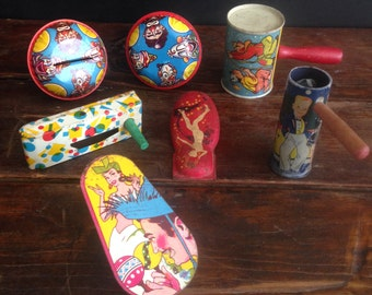 Vintage collection of antique noise makers 1930's - 1960's