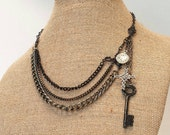 Vintage necklace with celtic cross pocket watch & skeleton key, steampunk jewelry, art deco statement necklace #etsygifts gifts for women