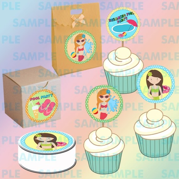 Printable Swimming Pool Party Cupcake Toppers-Swimming Pool