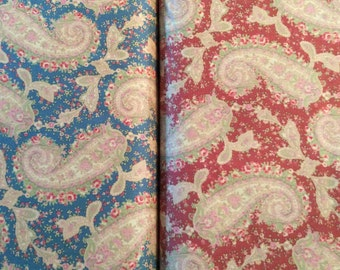 "Fabric - Faded Splendor in RED or BLUE - BTY 44/45""- Cotton"