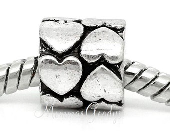 Heart European Big Hole Bead Charm fits Pandora Bracelets
