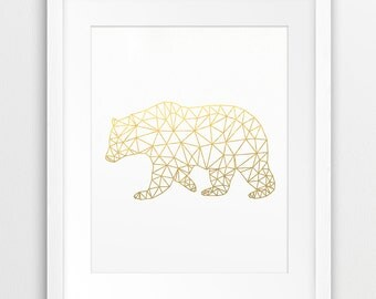 Bear Print, Geometric Animal Wall Art, Bear Gold Texture, Woodlands Animal, Gold Geometric, Origami Art, Modern Nursery Decor, Printable Art