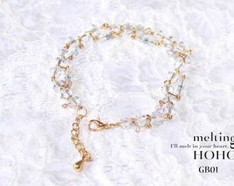 Crystal White Golden Bracelet