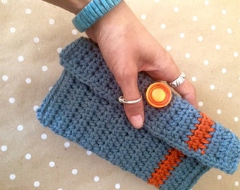 Crochet Clutch - Stone Blue and Rust Orange Granny Chic