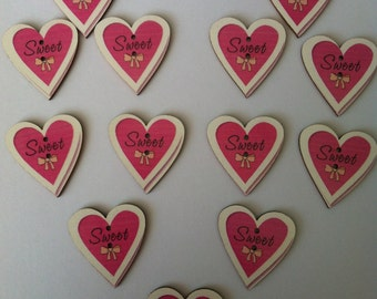10x wooden 'sweet heart' 2 hole pink buttons