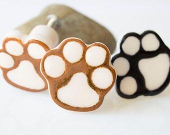 Ceramic Paw-Print Cabinet Knob