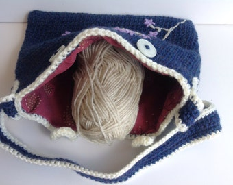 Handmade crochet chunky knit embroidered lined bag