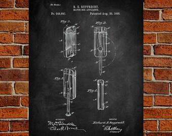 1895 Matchbox appliance Art Print,  Patent, Matchbox appliance Vintage Art,  Blueprint,  Poster, PatentPrints, Wall Art, Decor [Vi59A]
