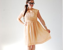 Vintage 50s Peach Dress - Cute, Rockabilly, Bow Tie, Medium, Capped Sleeves