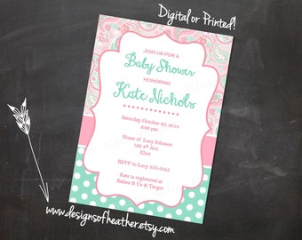 Pink Paisley & Teal Digital Baby Shower Invitation