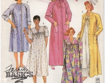 McCalls 2776 House Robe Night Gown Front Button Robe Raglan Sleeve Size Medium 14-16 Bust 36-38 Trim Eyelet Pockets Uncut Factory Folded