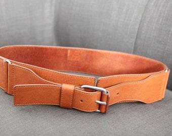 Camel leather waist belt