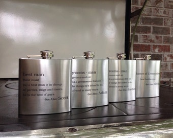 Personalized Wedding Party Definitions- Stainless Steel Flasks- best man-groomsman-bridesmaid-bride-groom