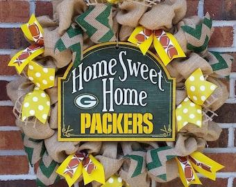 "Burlap ""Home Sweet Home"" Green Bay Packers Wreath"