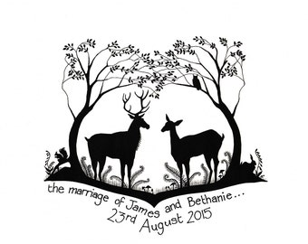 Personalised Wedding / Civil Ceremony Greetings Card Stag and Doe design with handwritten message. A unique gift for the ones you love.