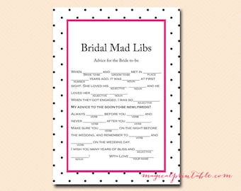Bridal Mad Libs, Advice for the bride, Hot Pink, Black Dots, Bridal Shower Games, Hens Party Game, Wedding Shower BS96