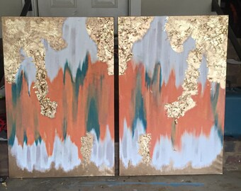 series Abstract painting with gold leaf!