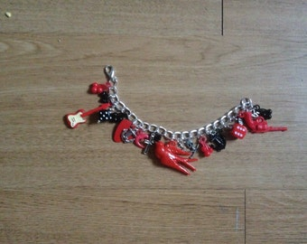 Red & Black Rock Chick Bracelet loaded with charms Kitsch sailor etc New