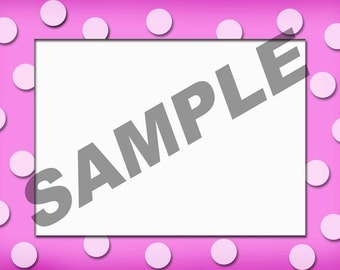 "5""x7"" Template Digital Download For Various Occasions With Pink Background And Polka Dots"