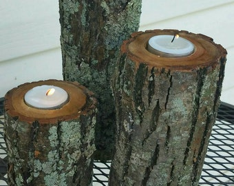 Log Candle Holders with bark