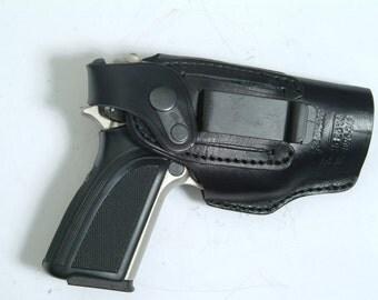 P22 Belt Slide Right and Left Hand Holster Black Leather Slide Guard