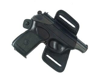 Makarov thumb break belt holster.OPEN BOTTOM Belt Slide Holster. Pancake Belt Slide. Right Hand Holster. Black Leather