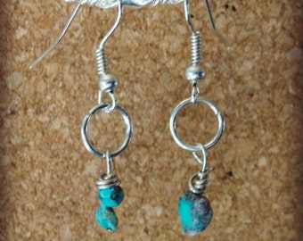 "Turquoise Stone Sterling Silver Dangle Earrings from the ""Alicia Collection"""