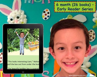 26x Personalized Children's Books with Photo- 6 month (26 titles) set of personalized kids eBooks for Early Readers with photo and name.