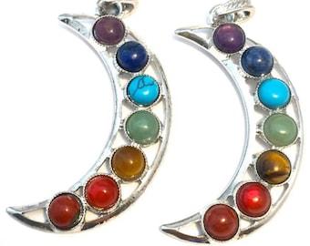 2 Chakra Moon Pendants