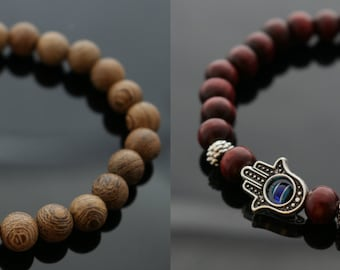 Vintage Wooden Hamsa Hand Bracelet, Silver Buddha Bracelet, Yoga Bracelet, Healer & Spiritual bracelets, Beaded Bracelets