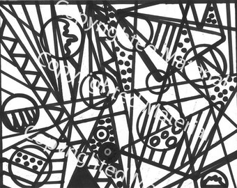 No. 34 – Hand Drawn Marker Art in Black and White Coloring Page