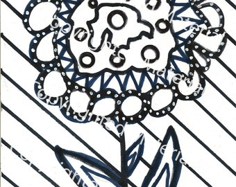 No. 35 – Hand Drawn Marker Art in Black and White Coloring Page