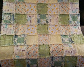 Custom Rag Quilt - Baby Blanket - Nursery Bedding - Nursery Decor - Crib Bedding - Patchwork Quilt - Handmade Quilt - Crib Quilt