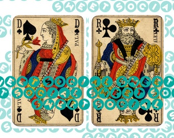 Vintage Playing Cards Collage Sheets King Queen Spades