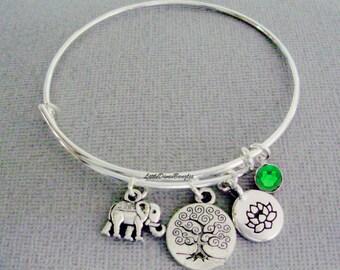 Elephant / TREE OF LIFE /  Lotus Flower Charm  W/ Birhstone Drop / Gift For Her / Silver Infinity Accent / Under Twenty / Usa E1