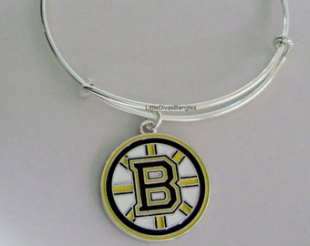 NHL Boston Bruins Hockey CHARM Bangle - Bangle / Bracelet -Bruins Charm Bracelet - Gift For Her - NHL Sports Bangle - Usa  Sp1