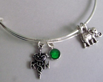 REGISTERED NURSE  / ELEPHANT Charm  Adjustable Bangle W/  Birthstone Drop / Bangle Bracelet / Jewelry /  Charms Gift For Her-  N1